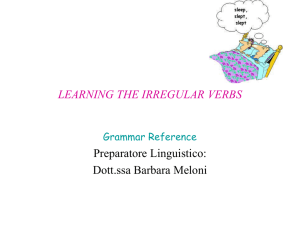 LEARNING THE IRREGULAR VERBS