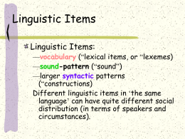 Linguistic Items