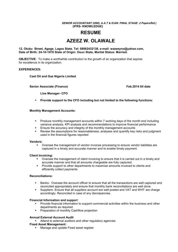 resume azeez w  olawale