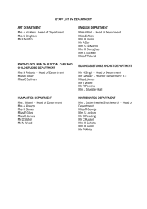 STAFF LIST BY DEPARTMENT ART DEPARTMENT ENGLISH