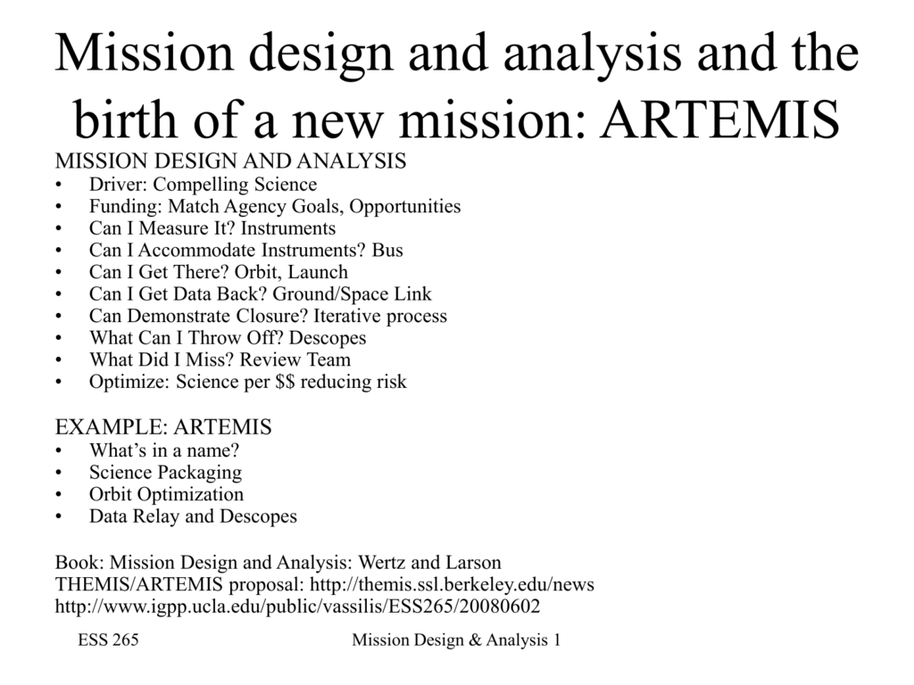 class_notes_mission_design - UCLA Institute for Geophysics