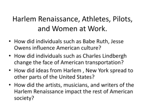 Harlem Renaissance, Athletes, Pilots, and Women at Work.