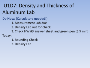 U1D7: Density and Thickness of Aluminum Foil