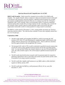 American Research and Competitiveness Act of 2015 R&D Credit