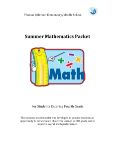 Summer Mathematics Packet - Baltimore City Public School System