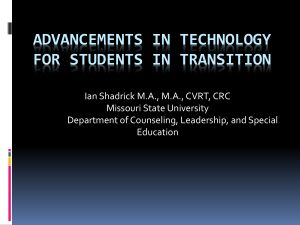 Advancements in Technology for Students in Transition