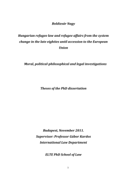Hungarian refugee law and refugee affairs from the