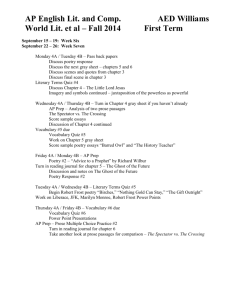 4th Period Literature Lesson Plans - September 15