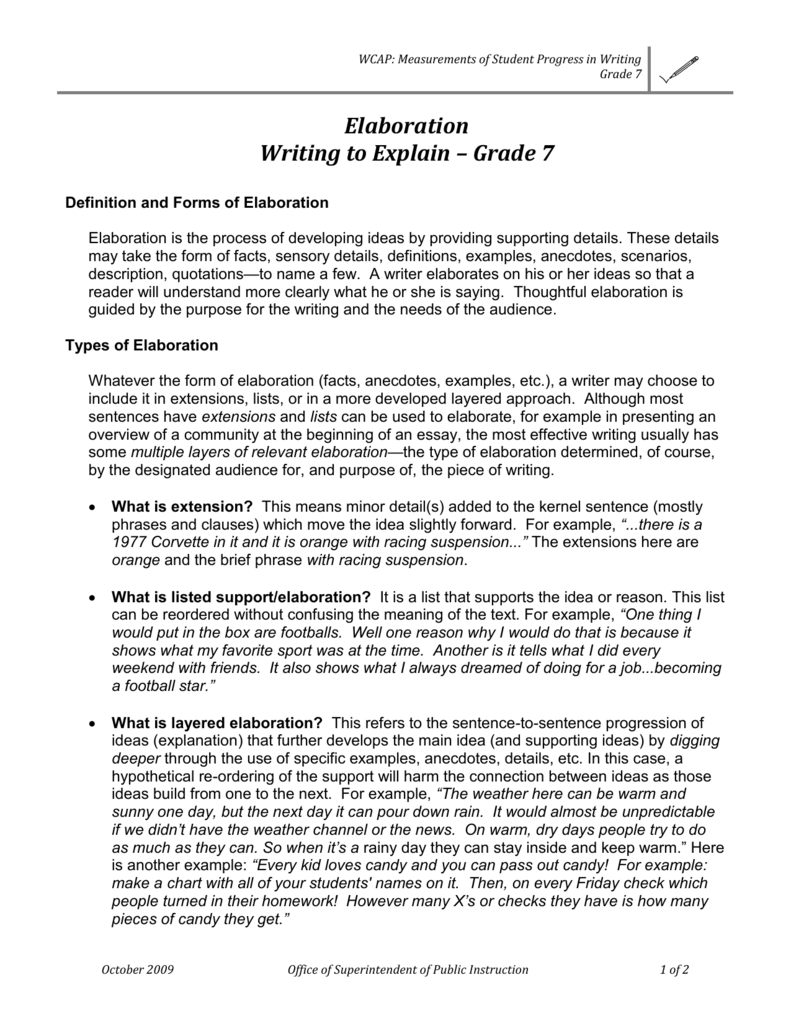 WCAP Measurements Of Student Progress In Writing Grade 7 Elaboration To Explain Definition And Forms Is The