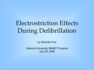 Electrostriction Effects During Defibrillation