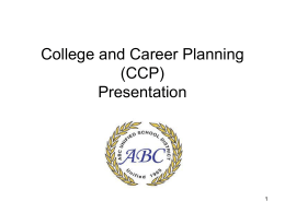 College and Career Planning (CCP) Presentation