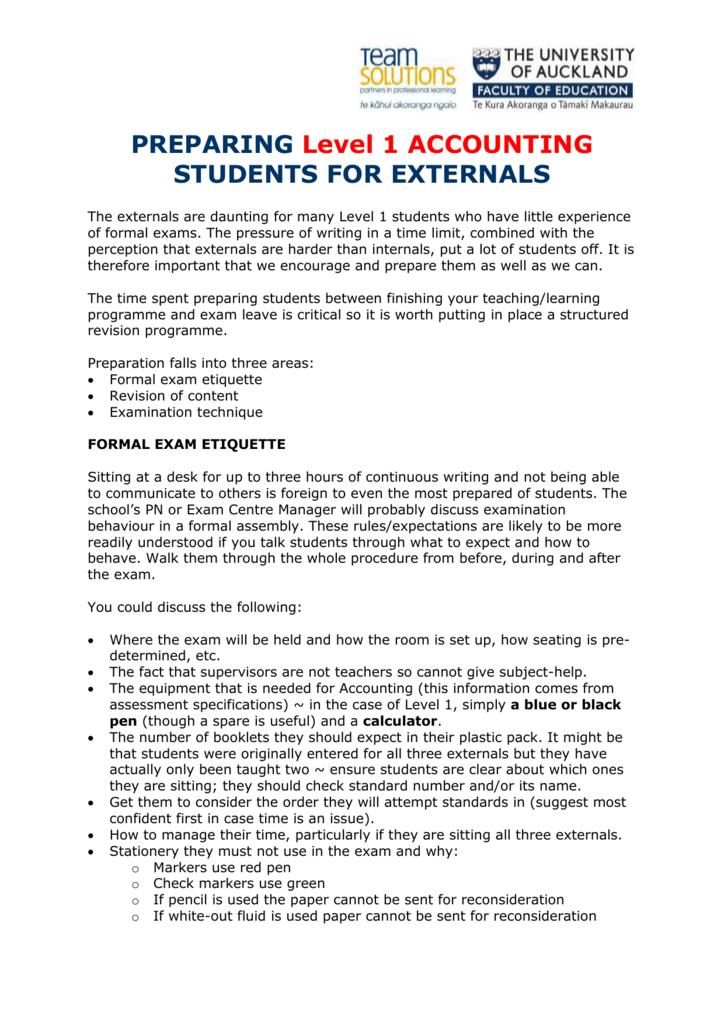 Level 1 Accounting exam tips