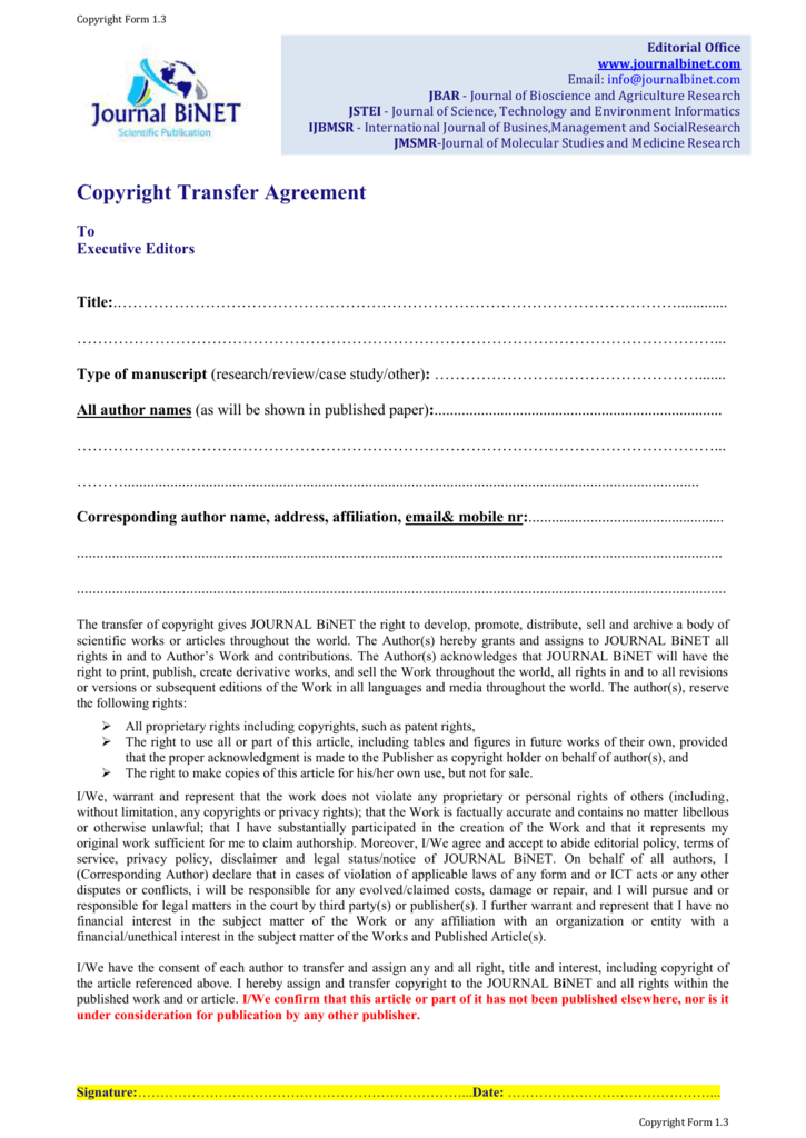 Copyright Transfer Agreement
