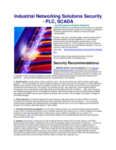 PLC-SCADA Network Securty
