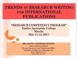 David Cababaro Bueno - TRENDS  in RESEARCH WRITING for INTERNATIONAL PUBLICATIONS