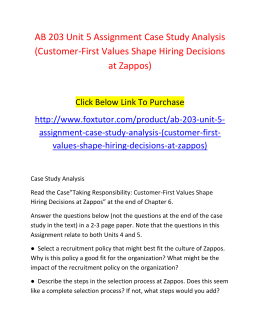 AB 203 Unit 5 Assignment Case Study Analysis (Customer-First Values Shape Hiring Decisions at Zappos)