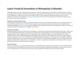 Latest Trends & Innovations in Rhinoplasty in Mumbai