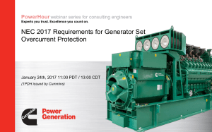 CUMMINS- Generator Set Overcurrent Protection-NEC 2017