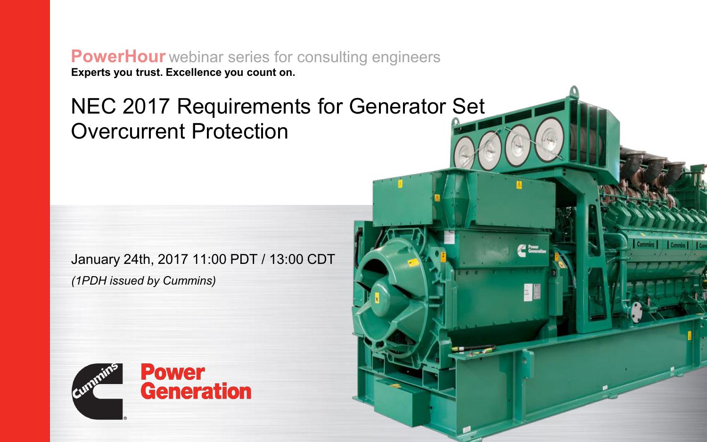CUMMINS- Generator Set Overcurrent Protection-NEC 2017