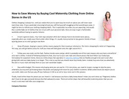How to Save Money by Buying Cool Maternity Clothing from Online Stores in the US