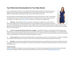 Top 4 Maternity Dressing Styles For Your Baby Shower
