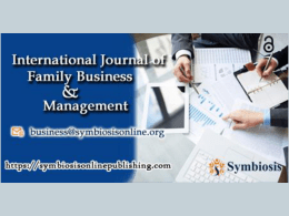 New Issue Released by Journal of Family Business Management