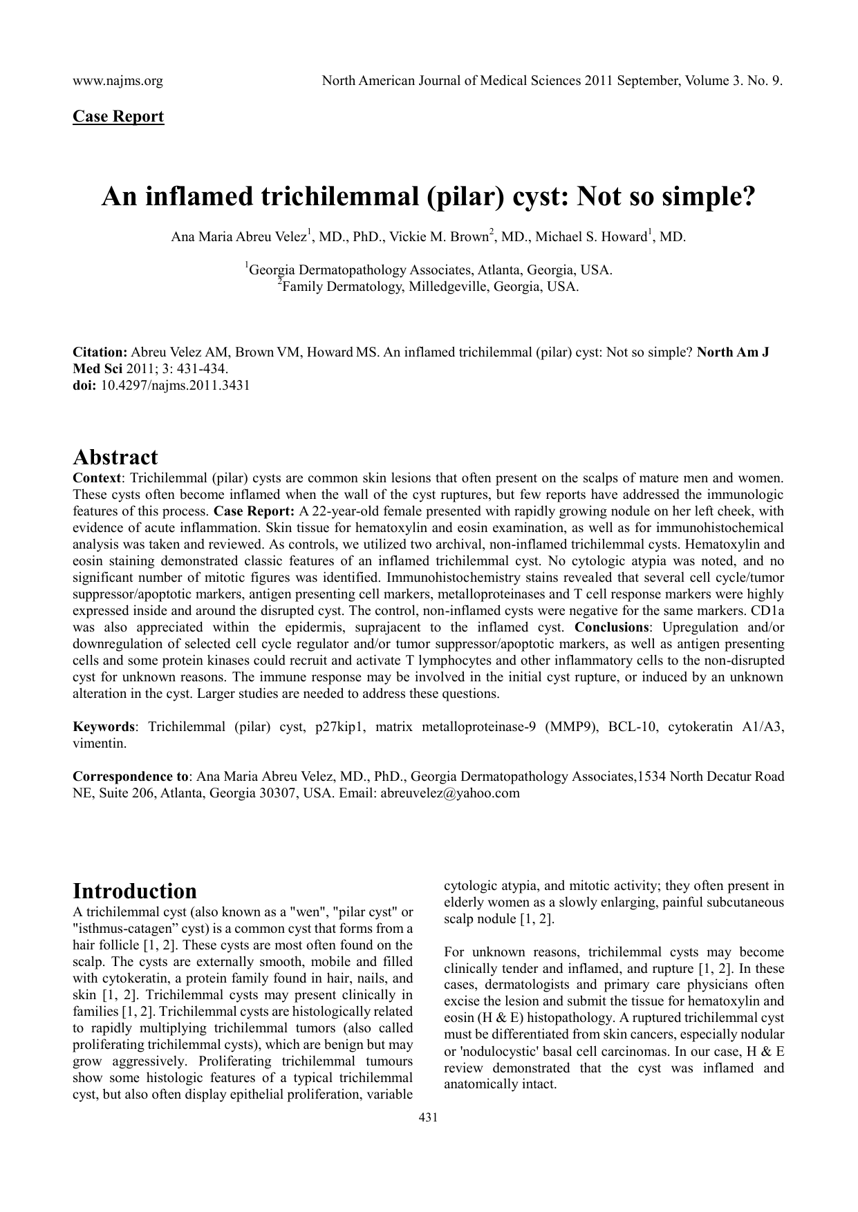 An inflamed trichilemmal cyst not so simple