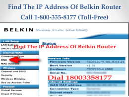 Call 18002046959 To Find The IP Address Of Belkin Router