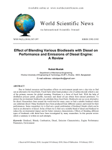Effect of Blending Various Biodiesels with Diesel on Performance and Emissions of Diesel Engine :A Review