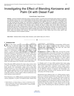 Investigating the Effect of Blending Kerosene and Palm Oil with Diesel Fuel
