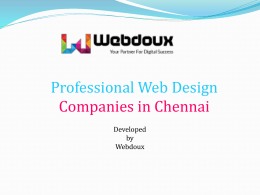 Best and Professional Web Design Companies in Chennai