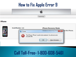 1-800-608-5461 How to Fix Apple Error 9? Few Tips