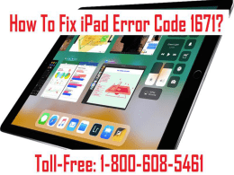 1-800-608-5461 How To Fix iPad Error Code 1671? Few Ways