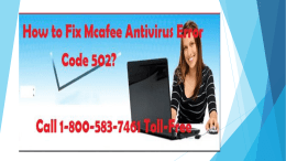 Call 1-800-583-7461How to Fix Mcafee Antivirus Error Code 502