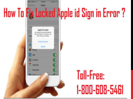 1-800-608-5461 How To Fix Locked Apple id Sign in Error?