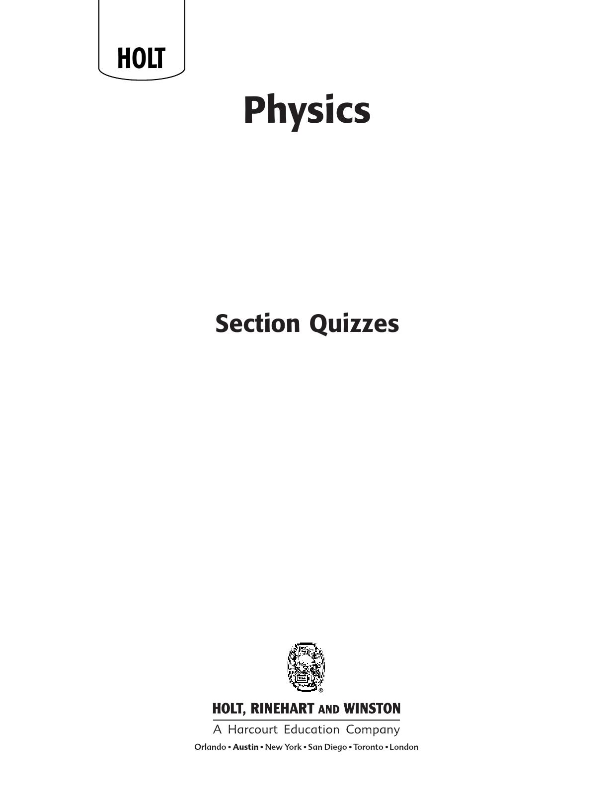 physics holt tests ch 16