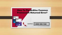 Call 1-800-583-7461|How To Fix McAfee Common Framework Returned Error?