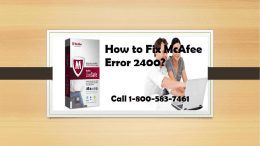 Call 1-800-583-7461 Toll-Free|How to Fix McAfee Error 2400?