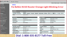 18003358177 Fix Belkin N150 Router Orange Light Blinking Error