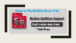 How to Fix McAfee Error 1722? Call 1-800-583-7461 Toll-Free