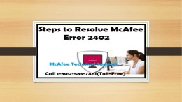 How to Fix McAfee Error 2402? Call 1-800-583-7461 Toll-Free