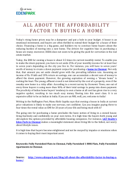 All About The Afordability Factor in Buying a Home
