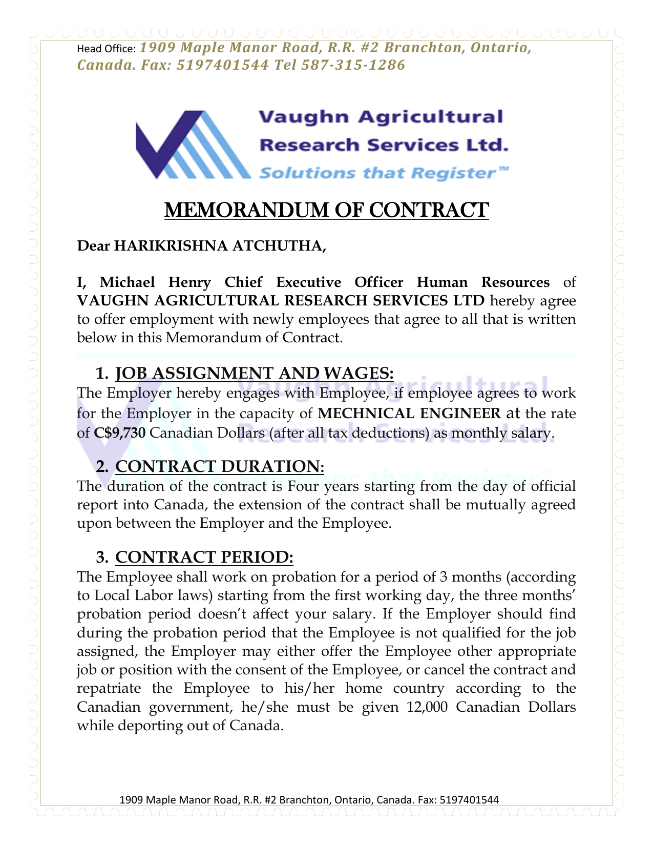 CONTRACT AGREEMENT LETTER FROM VAUGHN AGRICULTURAL RESEARCH