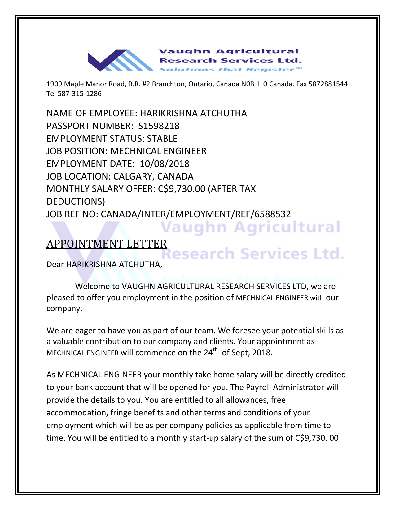 VAUGHN AGRICULTURAL RESEARCH SERVICES LTD OFFER LETTER HARIKRISHNA