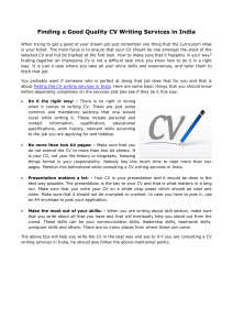 Finding a Good Quality CV Writing Services in India