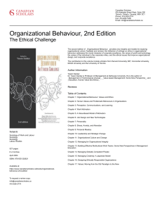 Organizational Behaviour, 2nd Edition