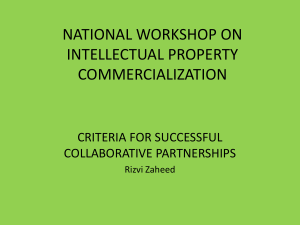 INTELLECTUAL PROPERTY & COMMERCIALIZATION BY RIZVI ZAHEED