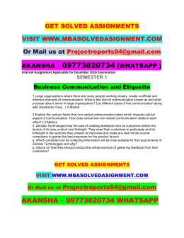 Business Communication and Etiquette Nmims Solved Assignment December 2018  9773820734