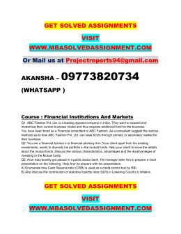 Financial Institutions And Markets PGDITM