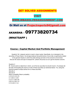 Capital Market And Portfolio Management Nmims Assignment Need Call 9773820734